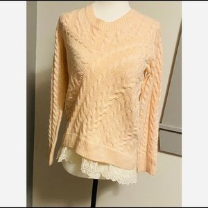 🐦2/30 Monteau Cable Knit boho Sweater with lace